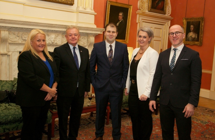 (left to right) – Cllr Poppy Corbett (Clydesdale West), Cllr Kenny McCreary (Bothwell and Uddingston), Cllr Mark McGeever (Hamilton West and Earnock), Cllr Ann Le Blond (Cambuslang West) and Glasgow City councillor  Tony Curtis gathered in Number 10's famous Terracotta Room.